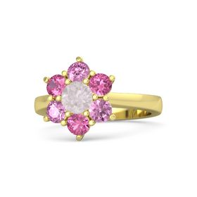 Round Rose Quartz 14K Yellow Gold Ring with Pink Tourmaline and Pink Sapphire