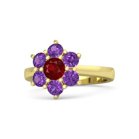 Round Ruby 14K Yellow Gold Ring with Amethyst