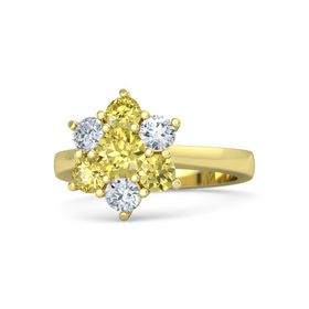 Round Yellow Sapphire 14K Yellow Gold Ring with Diamond and Yellow Sapphire
