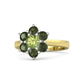 Round Peridot 14K Yellow Gold Ring with Green Tourmaline