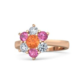 Round Fire Opal 18K Rose Gold Ring with Pink Tourmaline and Diamond