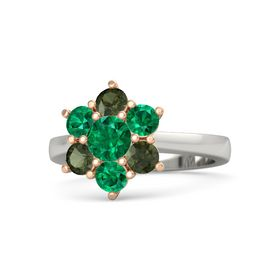 Round Emerald 18K White Gold Ring with Emerald and Green Tourmaline