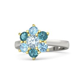 Round Aquamarine 18K White Gold Ring with London Blue Topaz and Blue Topaz