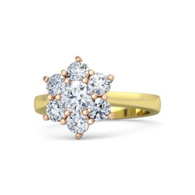 Round Diamond 18K Yellow Gold Ring with Diamond