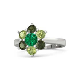 Round Emerald Palladium Ring with Peridot and Green Tourmaline