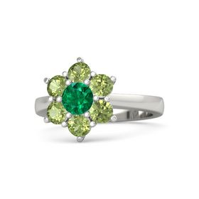Round Emerald Palladium Ring with Peridot