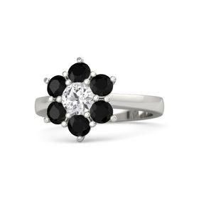 Round White Sapphire Palladium Ring with Black Onyx