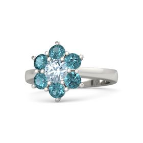 Round Aquamarine Palladium Ring with London Blue Topaz