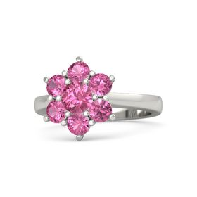 Round Pink Tourmaline Palladium Ring with Pink Tourmaline