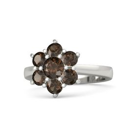 Round Smoky Quartz Palladium Ring with Smoky Quartz
