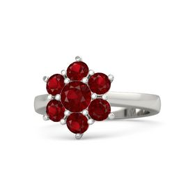 Round Ruby Platinum Ring with Ruby