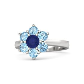 Round Sapphire Sterling Silver Ring with Blue Topaz