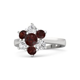 Round Red Garnet Sterling Silver Ring with Red Garnet & White Sapphire