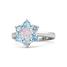 Round Rose Quartz Sterling Silver Ring with Aquamarine and Blue Topaz