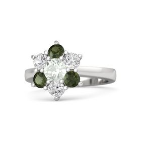 Round Green Amethyst Sterling Silver Ring with White Sapphire & Green Tourmaline