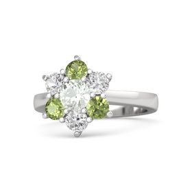 Round Green Amethyst Sterling Silver Ring with White Sapphire and Peridot