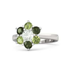 Round Green Amethyst Sterling Silver Ring with Green Tourmaline & Peridot