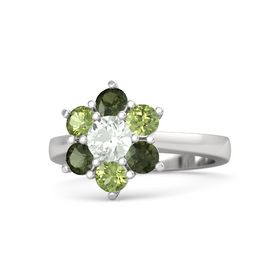 Round Green Amethyst Sterling Silver Ring with Peridot & Green Tourmaline
