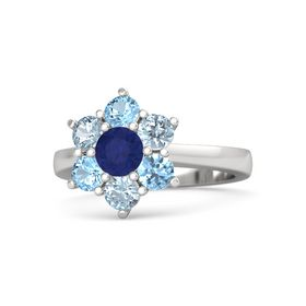 Round Blue Sapphire Sterling Silver Ring with Aquamarine and Blue Topaz