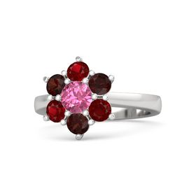 Round Pink Tourmaline Sterling Silver Ring with Red Garnet and Ruby