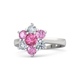 Round Pink Tourmaline Sterling Silver Ring with Pink Sapphire and Diamond