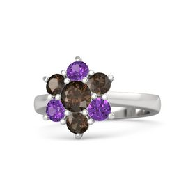 Round Smoky Quartz Sterling Silver Ring with Smoky Quartz and Amethyst