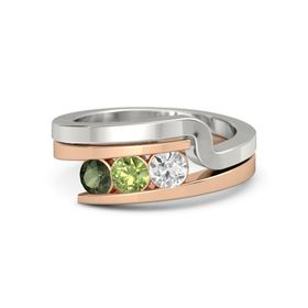 Round Peridot 14K Rose Gold Ring with White Sapphire & Green Tourmaline