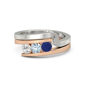 Round Aquamarine 14K Rose Gold Ring with Blue Sapphire and White Sapphire