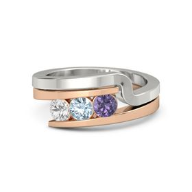 Round Aquamarine 14K Rose Gold Ring with Iolite and White Sapphire