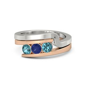 Round Blue Sapphire 14K Rose Gold Ring with London Blue Topaz