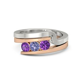 Round Tanzanite 14K Rose Gold Ring with Amethyst