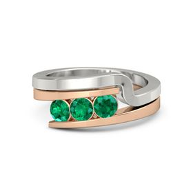 Round Emerald 14K Rose Gold Ring with Emerald