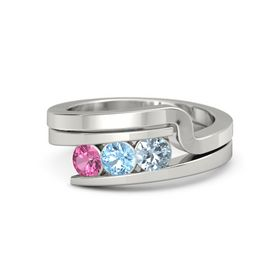 Round Blue Topaz 14K White Gold Ring with Aquamarine and Pink Tourmaline