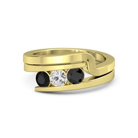 Round White Sapphire 14K Yellow Gold Ring with Black Diamond and Black Onyx