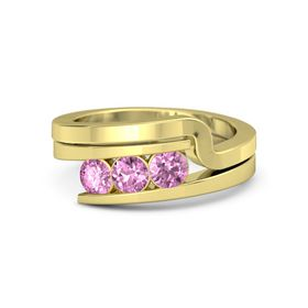 Round Pink Sapphire 18K Yellow Gold Ring with Pink Sapphire