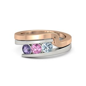 Round Pink Sapphire Palladium Ring with Aquamarine and Iolite