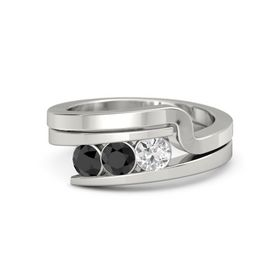 Round Black Diamond Palladium Ring with White Sapphire and Black Diamond