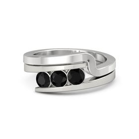 Round Black Onyx Platinum Ring with Black Onyx