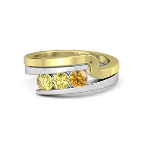 Round Yellow Sapphire Sterling Silver Ring with Citrine and Yellow Sapphire