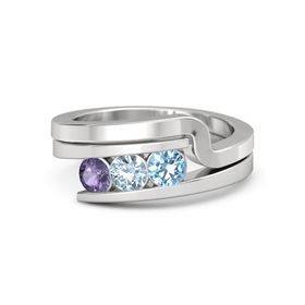 Round Aquamarine Sterling Silver Ring with Blue Topaz & Iolite