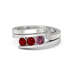 Round Ruby Sterling Silver Ring with Rhodolite Garnet and Ruby