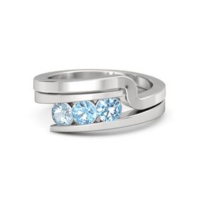Round Blue Topaz Sterling Silver Ring with Blue Topaz & Aquamarine