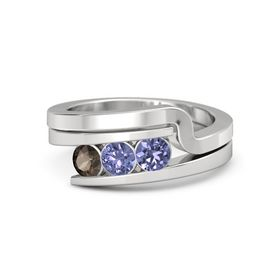 Round Tanzanite Sterling Silver Ring with Tanzanite and Smoky Quartz