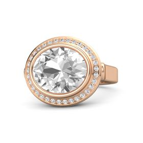 Oval Rock Crystal 14K Rose Gold Ring with White Sapphire