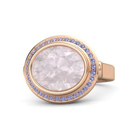 Oval Rose Quartz 14K Rose Gold Ring with Iolite