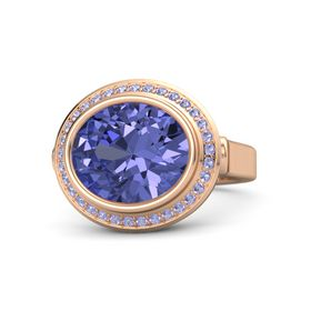 Oval Tanzanite 14K Rose Gold Ring with Tanzanite