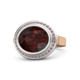 Oval Red Garnet 14K Rose Gold Ring with Rhodolite Garnet