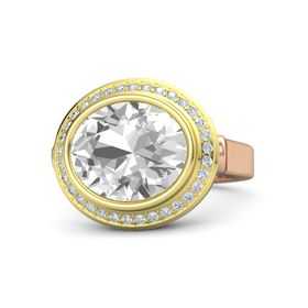 Oval Rock Crystal 14K Rose Gold Ring with Diamond