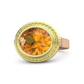 Oval Citrine 14K Rose Gold Ring with Yellow Sapphire