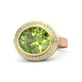 Oval Peridot 14K Rose Gold Ring with Diamond
